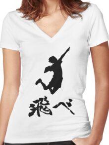 Haikyuu Hinata Tobe(FLY) Black Women's Fitted V-Neck T-Shirt