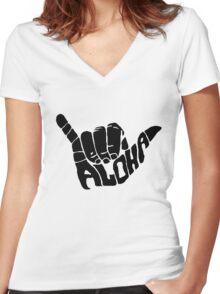 Shaka Aloha - Hawaii Women's Fitted V-Neck T-Shirt