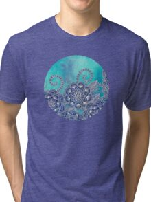 Mermaid's Garden - Navy & Teal Floral on Watercolor Tri-blend T-Shirt