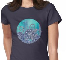Mermaid's Garden - Navy & Teal Floral on Watercolor Womens Fitted T-Shirt