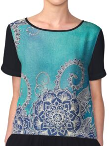 Mermaid's Garden - Navy & Teal Floral on Watercolor Chiffon Top