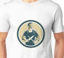 Butcher Cutter Knife Circle Retro Unisex T-Shirt