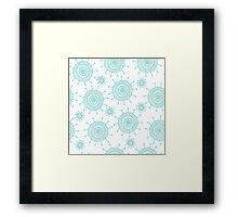 Beautiful seamless blue doodle flower pattern. Abstract cute background.  Framed Print