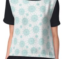 Beautiful seamless blue doodle flower pattern. Abstract cute background.  Chiffon Top