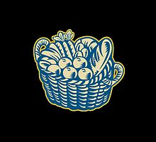 Crop Harvest Basket Retro by patrimonio