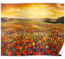 Field of red poppies at sunset in valley of mountains Original flowers oil painting on canvas. Impressionism art. Palette knife painting. Poster