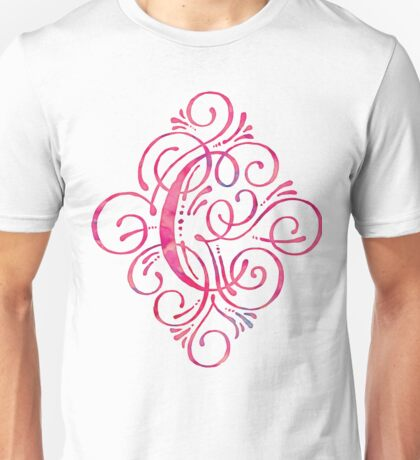Watercolor Monogram C Pink Turquoise Unisex T-Shirt