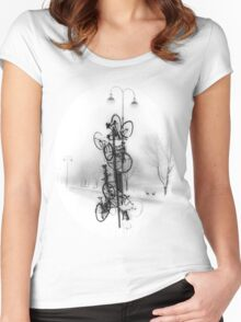 Bicycle Lamppost In Winter Women's Fitted Scoop T-Shirt