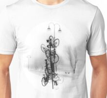 Bicycle Lamppost In Winter Unisex T-Shirt