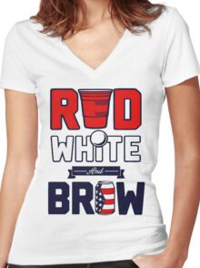 RED-WHITE-BREW Women's Fitted V-Neck T-Shirt