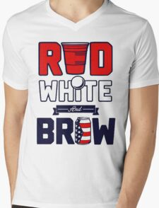 RED-WHITE-BREW Mens V-Neck T-Shirt