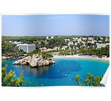 View of Cala Galdana with yachts on turquoise sea water, Menorca, Balearic Islands, Spain Poster