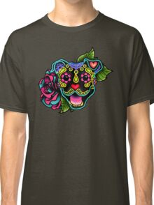Smiling Pit Bull in Black - Day of the Dead Happy Pitbull - Sugar Skull Dog Classic T-Shirt