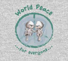 WORLD PEACE OTTERS - Green on Black Kids Tee