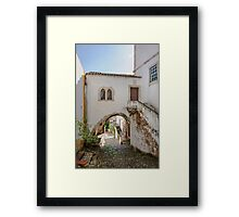 Traditional architecture in Medieval Portuguese Town of Obidos Framed Print