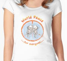 WORLD PEACE OTTERS - Red on White Women's Fitted Scoop T-Shirt