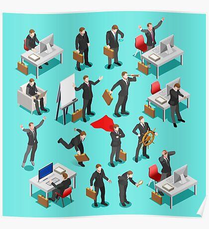 Businessman Leader Isometric Poster