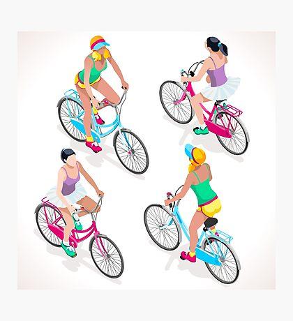 Teen Girl Cycling Photographic Print