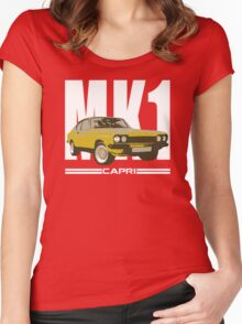 Yellow Ford Capri MK1 Classic Car Women's Fitted Scoop T-Shirt