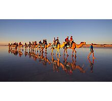 Camel Reflections on Cable Beach, Broome Photographic Print