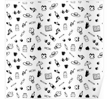 Little doodles graphic pattern Poster