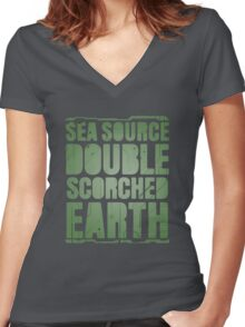 Sea Source, Double Scorched Earth Women's Fitted V-Neck T-Shirt