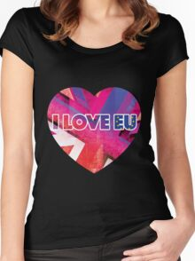 I LOVE EU - BREXIT HEART LOGO Women's Fitted Scoop T-Shirt