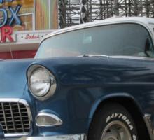 A Cool Classic Car And A Coaster Sticker