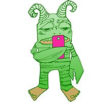 Degrader monster with cell phone (digital art) Photographic Print