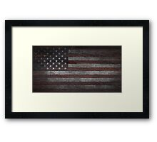 American Flag on Weathered Wood Framed Print
