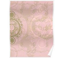 Pattern 013 Royal Time, Chrono Pink, Gold Poster