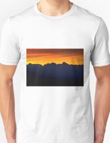 Sunset over the mountains Unisex T-Shirt
