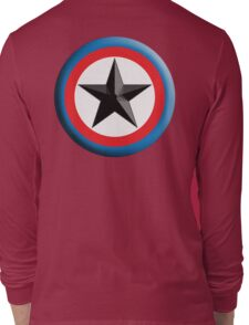 Bulls Eye, Star, Target, Roundel, Archery, Star, Badge, Buttton, on Black, Long Sleeve T-Shirt