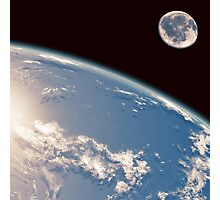 Earth and Moon Photographic Print