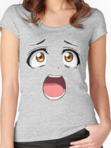Anime face brown eyes Women's Fitted Scoop T-Shirt