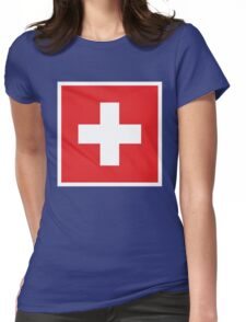 Swiss Flag Womens Fitted T-Shirt