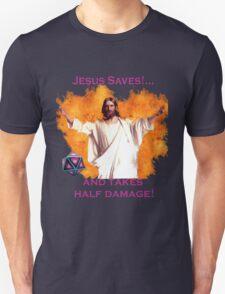 Jesus Saves & Takes 1/2 Damage T-Shirt