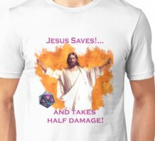 Jesus Saves & Takes 1/2 Damage Unisex T-Shirt