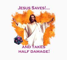 Jesus Saves & Takes 1/2 Damage Unisex T-Shirt
