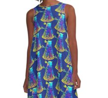 Colorful Splatter Paint Dalek A-Line Dress