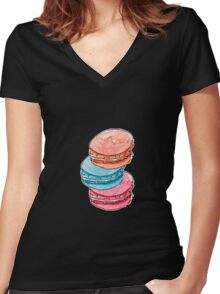 Watercolor hand drawn illustration of macaron cakes Women's Fitted V-Neck T-Shirt