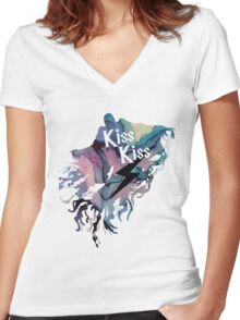 KISS KISS DEMENTOR  Women's Fitted V-Neck T-Shirt
