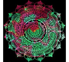 Red and Green Mandala (On Black) Photographic Print