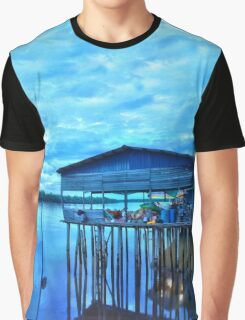 rural fishing cabin by the lake in the morning Graphic T-Shirt