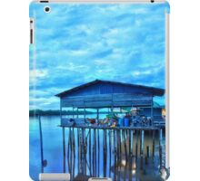 rural fishing cabin by the lake in the morning iPad Case/Skin