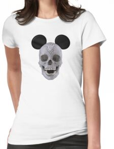 Diamond Mouse Skull Womens Fitted T-Shirt