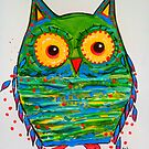 Mini Owl Mixed Media Illustration Green by jonkania