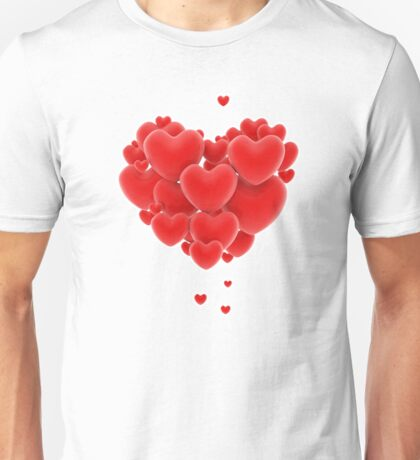 3D group of red hearts formimg a big heart shape Unisex T-Shirt