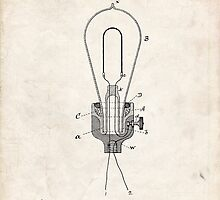 Edison Light Bulb Invention US Patent Art by geekuniverse