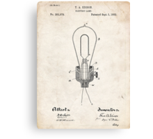 Edison Light Bulb Invention US Patent Art Canvas Print